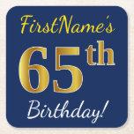 [ Thumbnail: Blue, Faux Gold 65th Birthday + Custom Name Paper Coaster ]