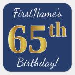 [ Thumbnail: Blue, Faux Gold 65th Birthday + Custom Name Sticker ]