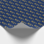 [ Thumbnail: Blue, Faux Gold 65th (Sixty-Fifth) Event Wrapping Paper ]