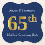 [ Thumbnail: Blue, Faux Gold 65th Wedding Anniversary Party Paper Coaster ]