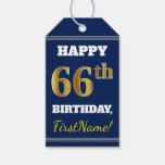 [ Thumbnail: Blue, Faux Gold 66th Birthday + Custom Name Gift Tags ]