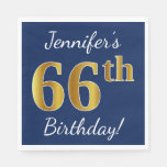 [ Thumbnail: Blue, Faux Gold 66th Birthday + Custom Name Napkin ]