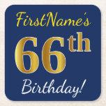 [ Thumbnail: Blue, Faux Gold 66th Birthday + Custom Name Paper Coaster ]