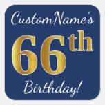 [ Thumbnail: Blue, Faux Gold 66th Birthday + Custom Name Sticker ]