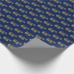 [ Thumbnail: Blue, Faux Gold 66th (Sixty-Sixth) Event Wrapping Paper ]