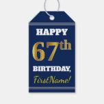 [ Thumbnail: Blue, Faux Gold 67th Birthday + Custom Name Gift Tags ]