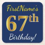 [ Thumbnail: Blue, Faux Gold 67th Birthday + Custom Name Paper Coaster ]