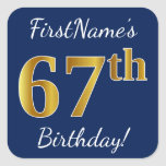 [ Thumbnail: Blue, Faux Gold 67th Birthday + Custom Name Sticker ]