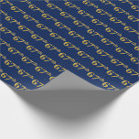 [ Thumbnail: Blue, Faux Gold 67th (Sixty-Seventh) Event Wrapping Paper ]
