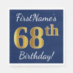 [ Thumbnail: Blue, Faux Gold 68th Birthday + Custom Name Paper Napkin ]