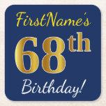 [ Thumbnail: Blue, Faux Gold 68th Birthday + Custom Name Paper Coaster ]