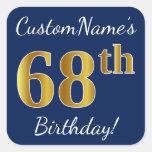 [ Thumbnail: Blue, Faux Gold 68th Birthday + Custom Name Sticker ]