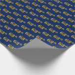 [ Thumbnail: Blue, Faux Gold 68th (Sixty-Eighth) Event Wrapping Paper ]