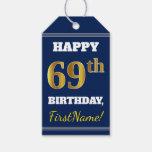 [ Thumbnail: Blue, Faux Gold 69th Birthday + Custom Name Gift Tags ]