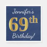 [ Thumbnail: Blue, Faux Gold 69th Birthday + Custom Name Paper Napkin ]