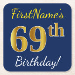 [ Thumbnail: Blue, Faux Gold 69th Birthday + Custom Name Paper Coaster ]