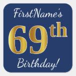 [ Thumbnail: Blue, Faux Gold 69th Birthday + Custom Name Sticker ]