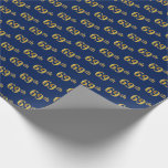 [ Thumbnail: Blue, Faux Gold 69th (Sixty-Ninth) Event Wrapping Paper ]
