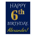 [ Thumbnail: Blue, Faux Gold 6th Birthday + Custom Name Postcard ]
