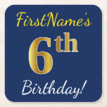[ Thumbnail: Blue, Faux Gold 6th Birthday + Custom Name Paper Coaster ]