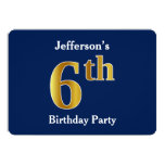 [ Thumbnail: Blue, Faux Gold 6th Birthday Party + Custom Name Invitation ]
