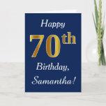 [ Thumbnail: Blue, Faux Gold 70th Birthday + Custom Name Card ]