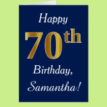 Blue, Faux Gold 70th Birthday   Custom Name Card