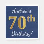 [ Thumbnail: Blue, Faux Gold 70th Birthday + Custom Name Napkin ]