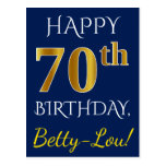 [ Thumbnail: Blue, Faux Gold 70th Birthday + Custom Name Postcard ]