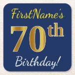 [ Thumbnail: Blue, Faux Gold 70th Birthday + Custom Name Paper Coaster ]