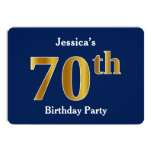 [ Thumbnail: Blue, Faux Gold 70th Birthday Party + Custom Name Invitation ]