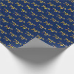 [ Thumbnail: Blue, Faux Gold 70th (Seventieth) Event Wrapping Paper ]
