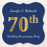 [ Thumbnail: Blue, Faux Gold 70th Wedding Anniversary Party Paper Coaster ]