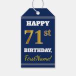 [ Thumbnail: Blue, Faux Gold 71st Birthday + Custom Name Gift Tags ]