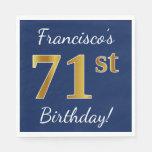 [ Thumbnail: Blue, Faux Gold 71st Birthday + Custom Name Paper Napkin ]