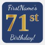 [ Thumbnail: Blue, Faux Gold 71st Birthday + Custom Name Sticker ]