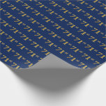 [ Thumbnail: Blue, Faux Gold 71st (Seventy-First) Event Wrapping Paper ]