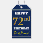 [ Thumbnail: Blue, Faux Gold 72nd Birthday + Custom Name Gift Tags ]