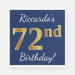 [ Thumbnail: Blue, Faux Gold 72nd Birthday + Custom Name Paper Napkin ]