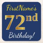 [ Thumbnail: Blue, Faux Gold 72nd Birthday + Custom Name Paper Coaster ]