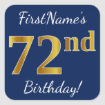 [ Thumbnail: Blue, Faux Gold 72nd Birthday + Custom Name Sticker ]