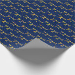 [ Thumbnail: Blue, Faux Gold 72nd (Seventy-Second) Event Wrapping Paper ]