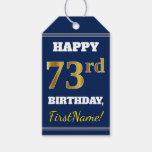 [ Thumbnail: Blue, Faux Gold 73rd Birthday + Custom Name Gift Tags ]