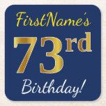 [ Thumbnail: Blue, Faux Gold 73rd Birthday + Custom Name Paper Coaster ]