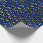 [ Thumbnail: Blue, Faux Gold 73rd (Seventy-Third) Event Wrapping Paper ]