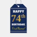 [ Thumbnail: Blue, Faux Gold 74th Birthday + Custom Name Gift Tags ]