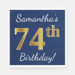 [ Thumbnail: Blue, Faux Gold 74th Birthday + Custom Name Napkin ]