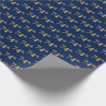 [ Thumbnail: Blue, Faux Gold 74th (Seventy-Fourth) Event Wrapping Paper ]