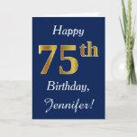 [ Thumbnail: Blue, Faux Gold 75th Birthday + Custom Name Card ]