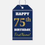 [ Thumbnail: Blue, Faux Gold 75th Birthday + Custom Name Gift Tags ]